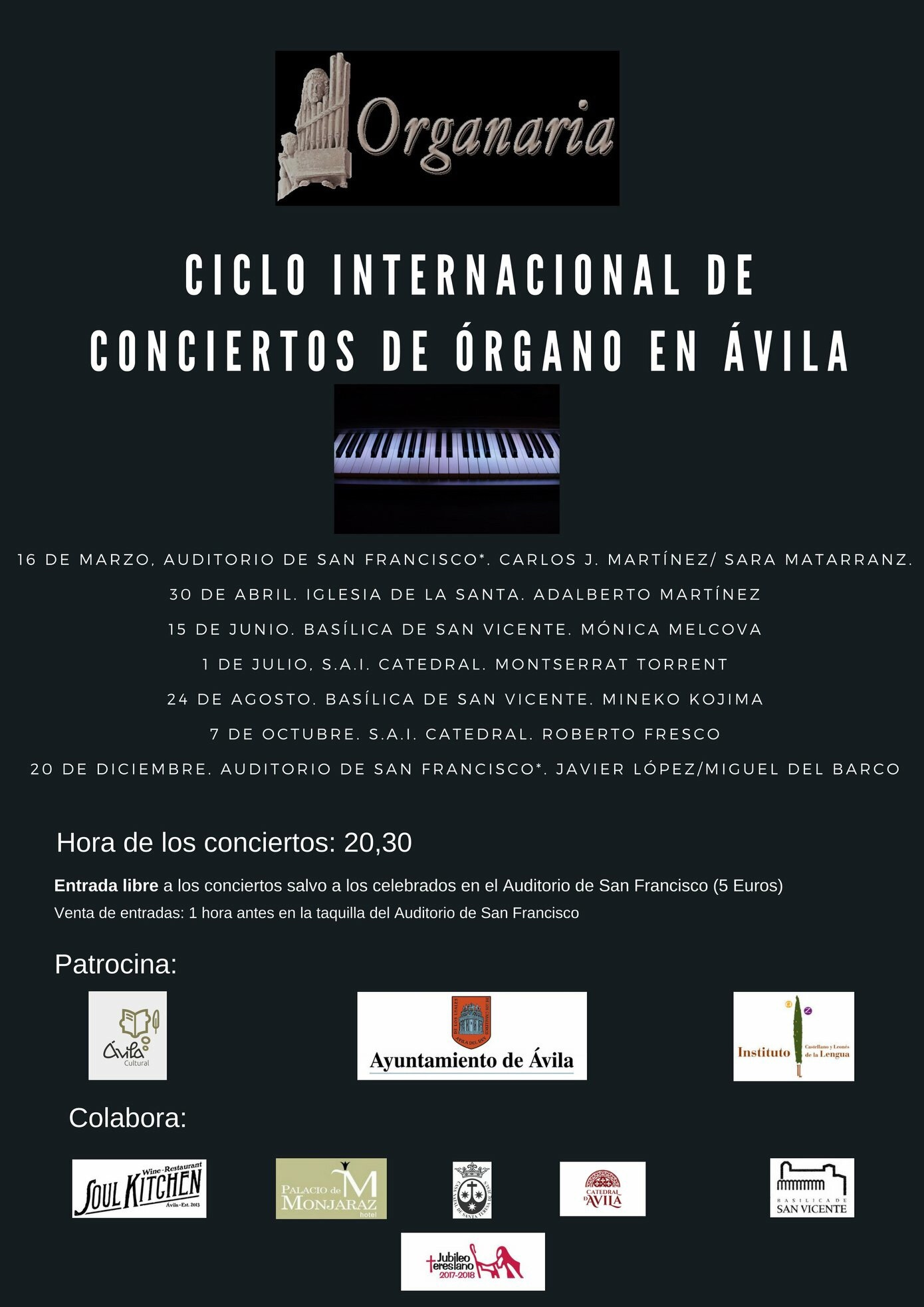 Ciclo internacional de conciertos de órgano en Ávila
